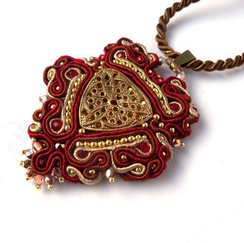 Unique Hand Embroidered Pendant Maroon Necklace with Metal Gold Button Handmade Soutache Jewelry