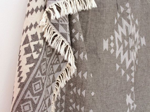 Southwestern Throw Blanket Grey Bohemian Sofa by onTheRainbow