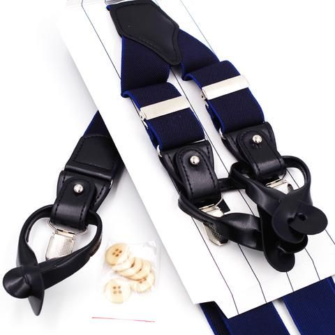 Genuine Leather Navy Blue Men's Suspender #mensfashion #suspenders