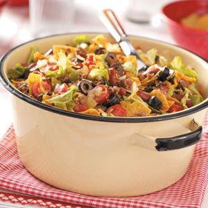 Taco salad for a large crowd. This would be great for a potluck!
