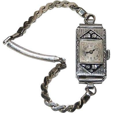 Ladies 14K G.F. Bulova Watch Deco Style Enamel Collette 1928 with Box ruby lane