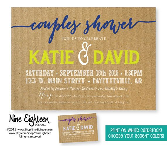 couples shower invitation horizontal 5x7 customized printable pdfjpg invitation i design you print on ehite card stock