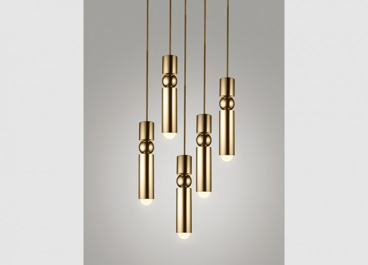 Fulcrum Light Chandelier Brass by Lee Broom