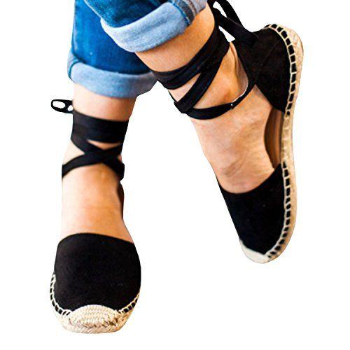 04d1e586a9ed Shele Womens Tie Up Flat Espadrilles Sandals Suede Strap Ankle Wrap Classic  Lace Up Shoes