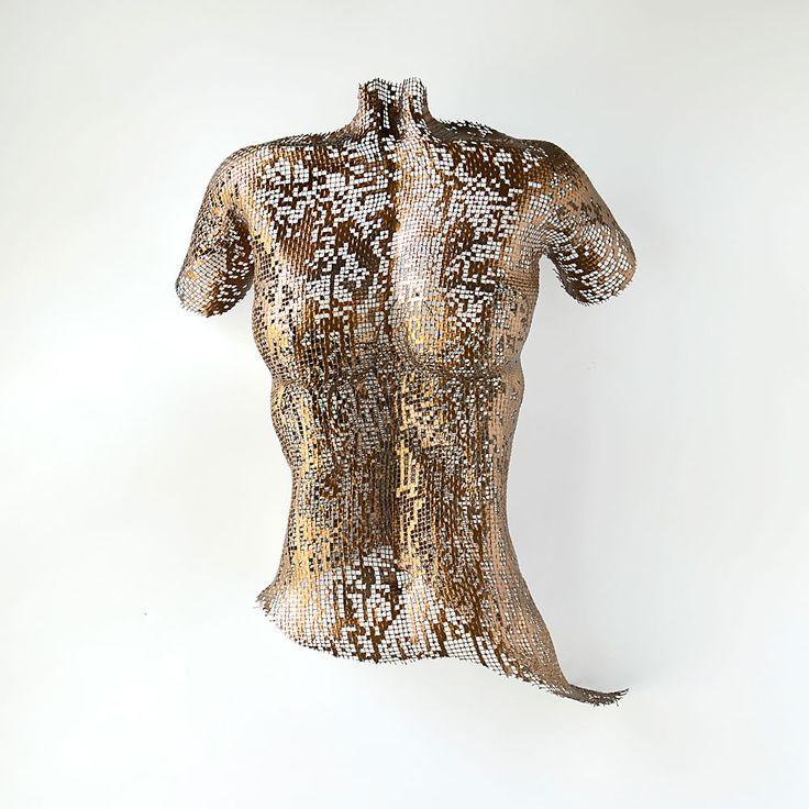 Abstract torso, sexy, nude, wire mesh sculpture, metal wall art sculpture