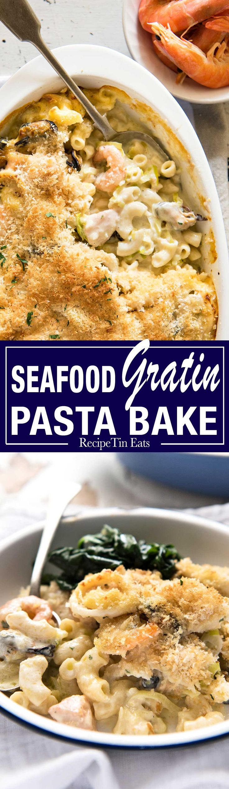 Seafood Gratin Pasta Bake - mixed seafood (your choice!) and pasta baked in a creamy sauce with a crunchy breadcrumb and cheese…