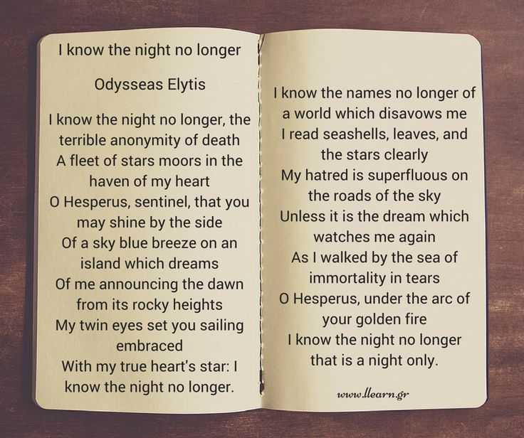 I know the noght no longer - Odysseas Elytis.
