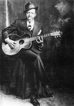 Robert Johnson, an influential Delta blues musician. He met the devil at the crossroads, so the story goes. Traded his soul!