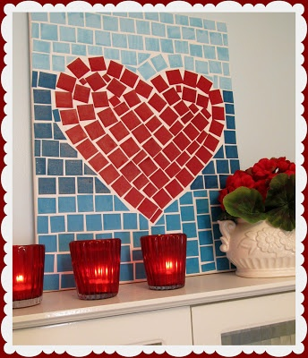 canvas, small paper squares and mod podge :: great mosaic