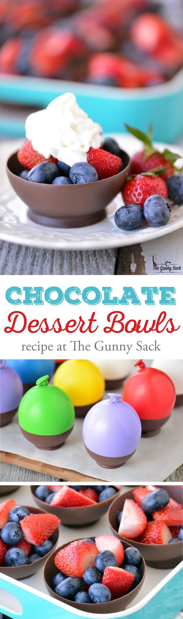 These Chocolate Dessert Bowls are made by dipping balloons in chocolate! The recipe is easy to follow and chocolate bowls can be filled with fresh fruit. Sponsored by Target.