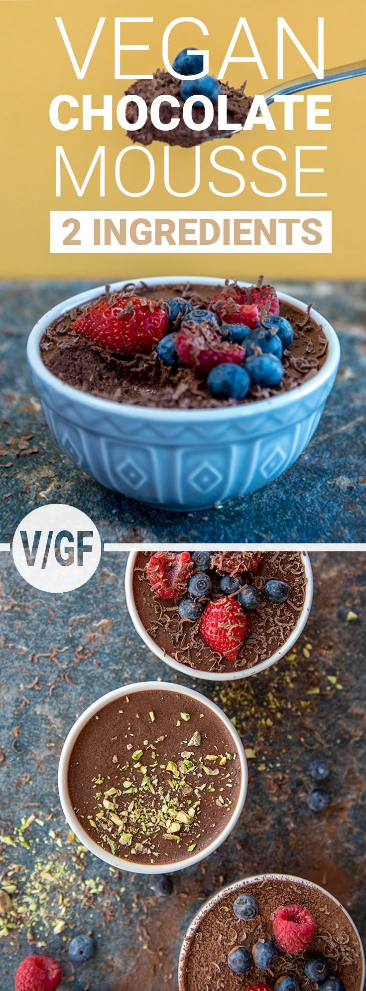 With only two ingredients and made in under 25 minutes (with minimal cleaning up after) this is the most impressive dessert recipe. Made with whipped chickpea juice, no one will ever know that it's completely vegan. #vegan #glutenfree #chocolate #dessert #chocolatemousse