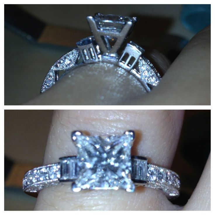 Beard's Jewelry - princess cut engagement ring -- Beautiful vintage styled pave with milgrain edging