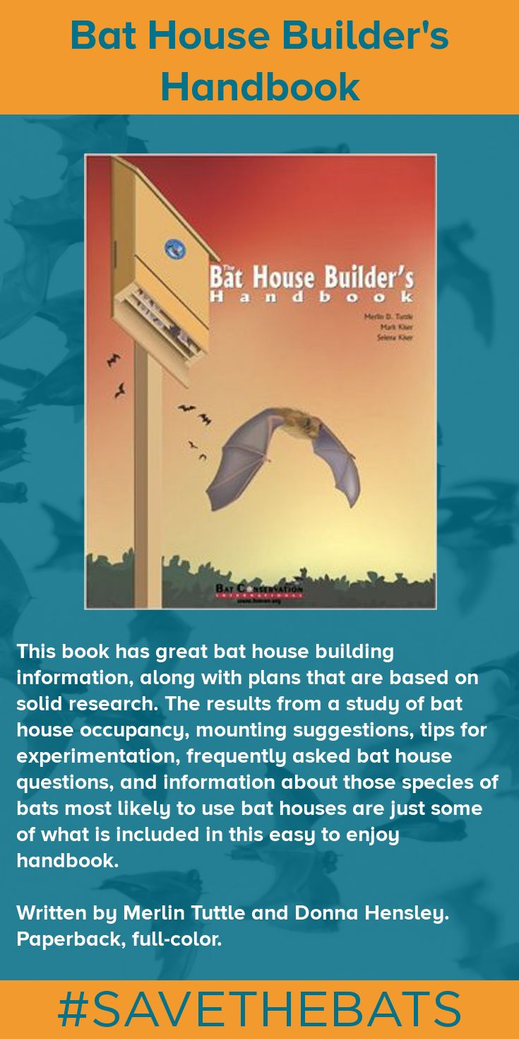 This book has great bat house building information, along with plans that are based on solid research. The results from a study of bat house occupancy, mounting suggestions, tips for experimentation, frequently asked bat house questions, and information about those species of bats most likely to use bat houses are just some of what is included in this easy to enjoy handbook. Written by Merlin Tuttle and Donna Hensley. Paperback, full-color. #BatHouse #BatStore #Bats #Conservation…