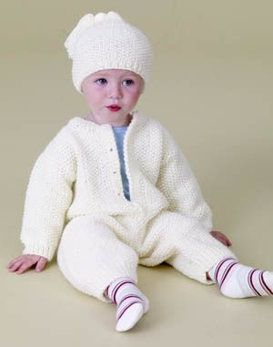 Knitting Patterns For Baby Jumpsuits : Not a fan of the white, but I think this might be cute in another color. Kn...