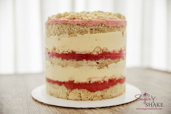 Drool worthy Strawberry Lemon Layer Cake, recipe by Christina Tosi (Momofuku Milk Bar). © 2015 Sugar + Shake