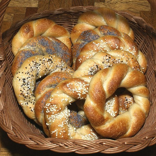 """Jewish Krakover Bagels Recipe / Polish Obwarzanki Krakowski Recipe: Jewish Krakover Bagels or Polish Obwarzanki Krakowski from """"Inside the Jewish Bakery"""" by Stanley Ginsberg and Norm Berg (Camino Books, 2011)"""