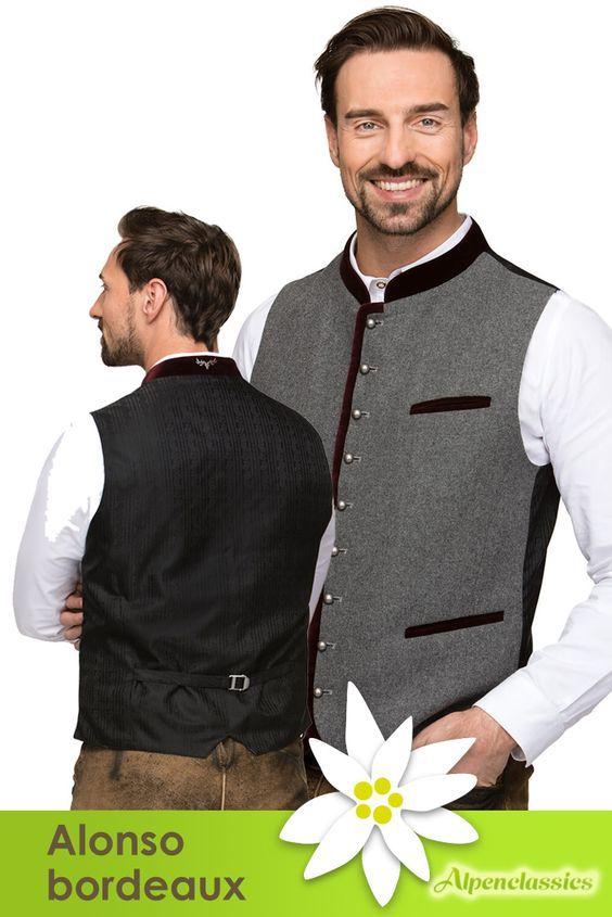 Mit der Trachtenweste Alonso bordeaux von Stockerpoint ist jeder Mann einfach modern und elegant gekleidet. Man brauch nicht immer das klassischen Karohemd. Tracht kann auch stilvoll mit grauschwarze, Stoff umrandet mit einer Abschlusskante in bordeaux-rot.