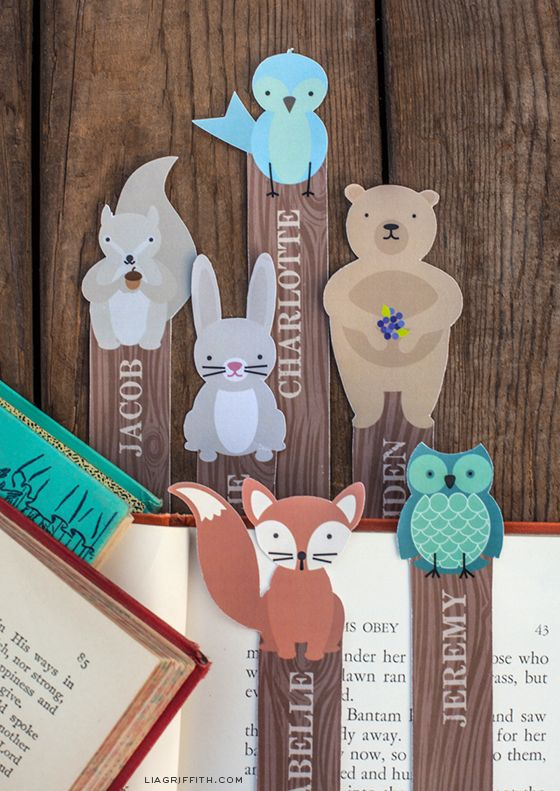 Woodland Bookmarks - adorable!  You can add your own child's name too.