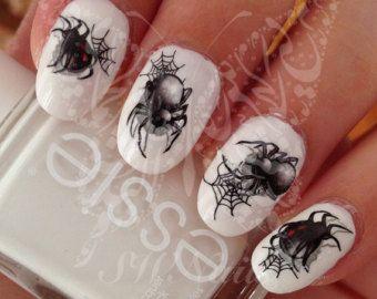 Halloween Nail Art Spider Web ragno nero acqua decalcomanie trasferimento wrap