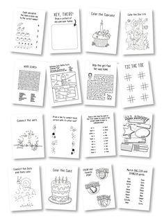 LOT DE 6 ** boîtes de l'activité enfant personnalisé pour n'importe quelle occasion ** mariage, dîner de répétition, shower de bébé, fête d'anniversaire, inauguration événement, réunion de famille, etc.. **  39 $ est pour 6 boîtes + cahier d'activités + crayons de couleur. ** Dernière photo montre toutes les 16 pages.  Ces boîtes de pignon sont livrés avec une étiquette, une étiquette de nom personnalisé, une coloration du livre w/crayons de couleur et d'un ruban dans la couleur de votre…