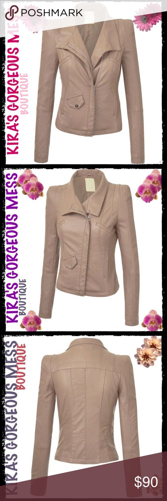 BNWT BIKER JACKET QUILTED KHAKI COLOR BNWT BIKER JACKET QUILTED KHAKI COLOR 100% Polyester; Slightly Padded Shoulder; Medium Weight/Fully Lined; Exposed Zipper Details---💋ONLY ONE MEDIUM LEFT💋 Boutique Jackets & Coats