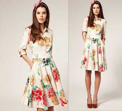 Vero Moda – Vintage Floral Print 50′s Shirt Dress