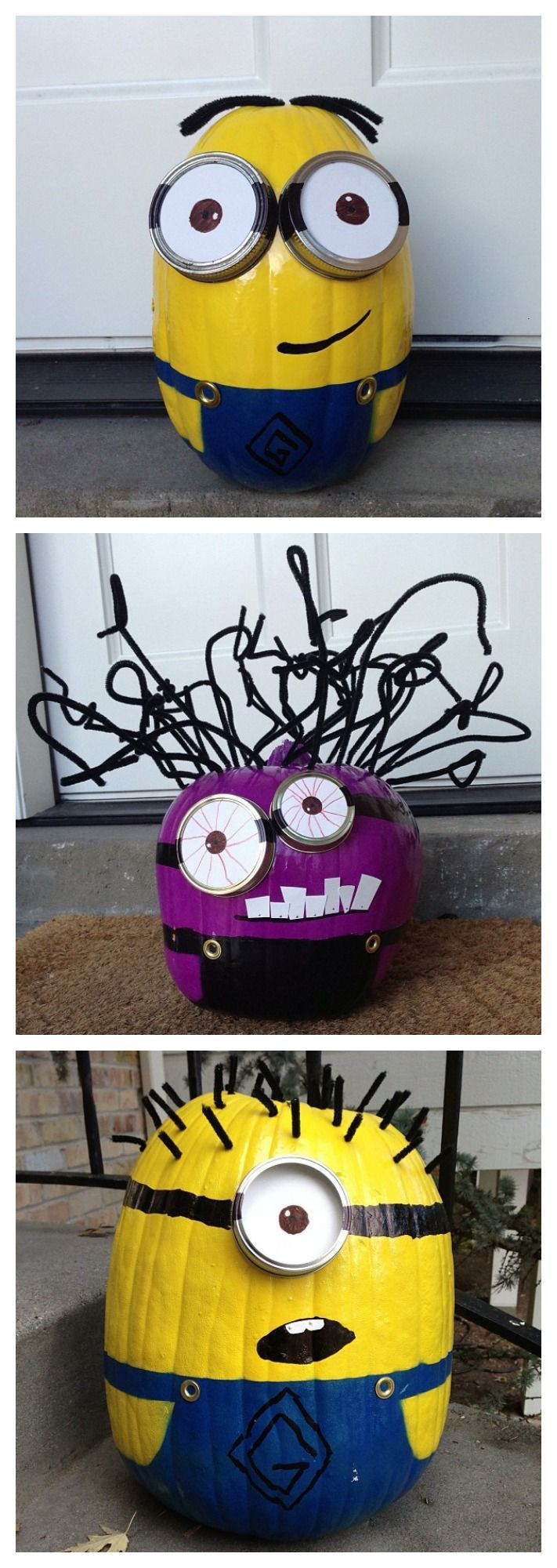 Step by step instructions to make your own Minion pumpkins this Halloween!  I adore these fun pumpkin decorating ideas from Today's Mama