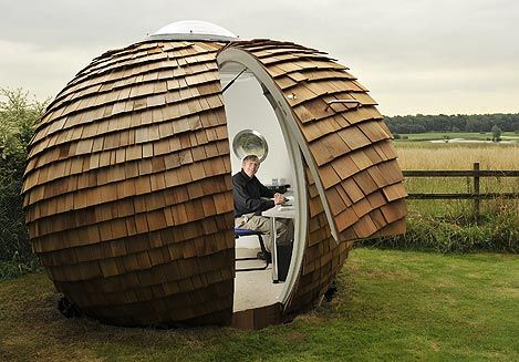 The sphere is built out of fibreglass plywood and red for Garden huts for sale