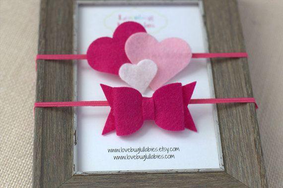 Pink Felt Heart & Bow Headbands or Hair Clip by LovebugLullabies