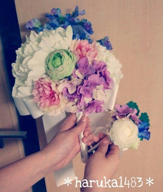 *DIY for my wedding*前撮り用ブーケ&ブートニア♡アーティシャルフラワーで作成♪花材はすべて大阪梅田&本町にある花びしで購入☆ #ブーケ #ウェディング #手作り結婚式 #前撮り