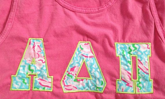 T-shirt embroidered with your sorority letters shown in your choice of Lilly Pulitzer