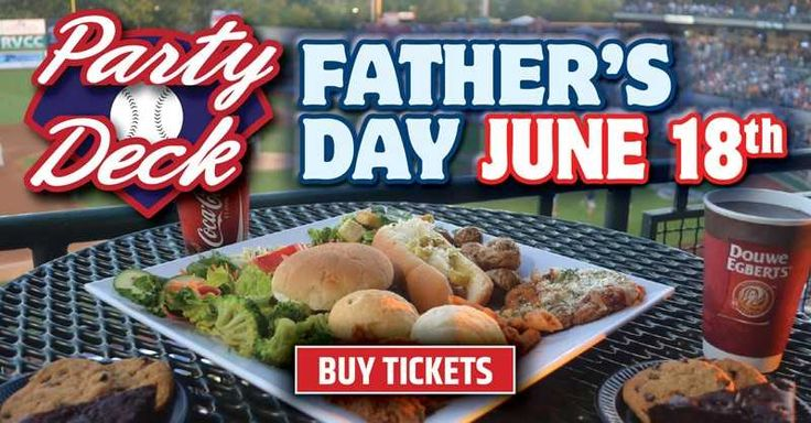 All You Can Eat Father's Day Party Deck Buffet Tickets Available!  $39 includes an upscale buffet consisting of Chicken Parmesian, Carved Roast Beef and Penne Vodka and seating on the Party Deck overlooking the field.