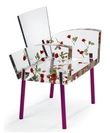 "object lesson    Chair, ""Miss Blanche"" 1988, Shiro Kuramata. Japan  1931-1994  Paper flowers, acrylic, resin."