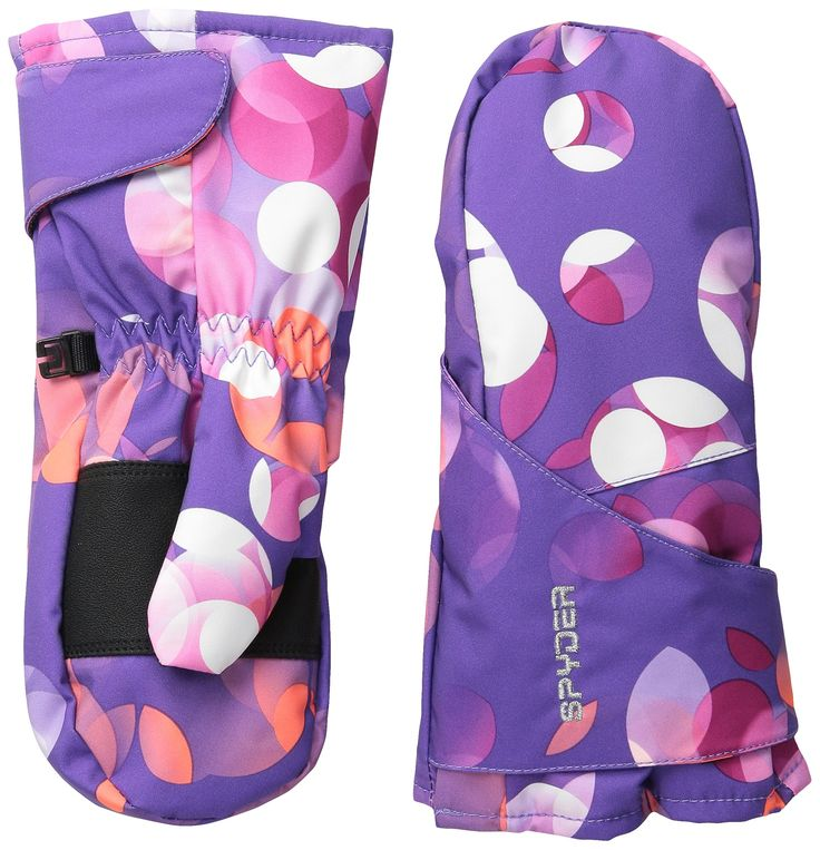 Spyder Girls Bitsy Cubby Mittens, X-Large, Iris Focus Print. Easy hook and loop wrap closure. Spyder Xt.L waterproof insert. Side velcro opening for easy access.