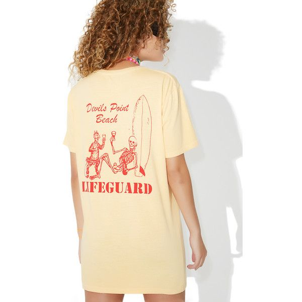 Surf is Dead Off Duty Tee ($45) ❤ liked on Polyvore featuring tops, t-shirts, graphic design t shirts, skeleton t shirt, beige top, skeleton tops and short sleeve tops