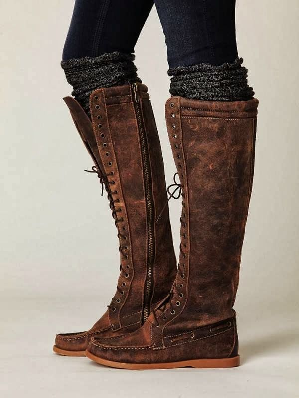 Long Lace Up Side Zip Winter Boots