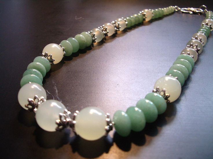 Jade  and Aventurine Necklace (NO. 98) by JewelrybyLJ on Etsy https://www.etsy.com/listing/103210868/jade-and-aventurine-necklace-no-98