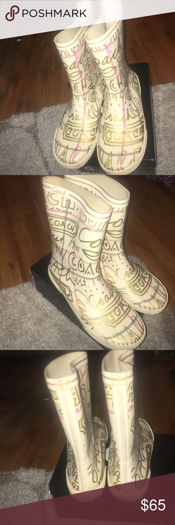 Coach rain boots Coach rain boots. Doodle print, off white. Great condition. Shoes Winter & Rain Boots