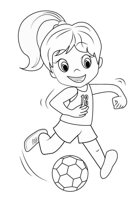 Ausmalbild Mädchen Mit Fußball Malvorlage Zum Ausdrucken çocuk
