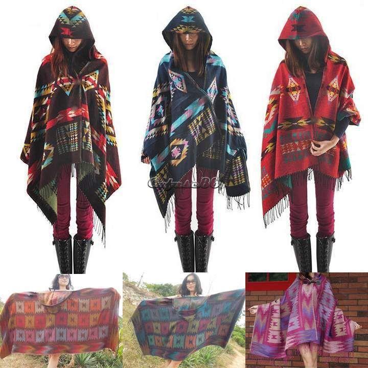 Women Bohemian Hoodie Cape Poncho Shawl Scarf Tribal Fringe Hooded Jacket Coat…