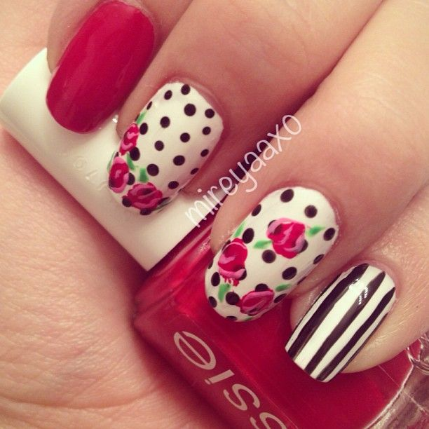 Polka Dots  Roses {Sinful Colors- snow me while. China Glaze Liquid Leather, Essie Forever Yummy, Color Club Feelin grovy.}