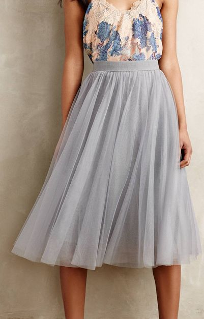 dusty blue tulle midi - less layers of tulle make for a looser, swingy fit for spring. save the fuller tulle skirts for a dramatic statement