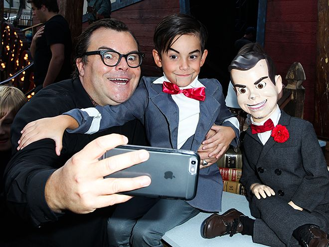 "Star Tracks: Monday, October 5, 2015 | PARTY WITH YOUR PARENT | Jack Black, his son Thomas, 7, and a ""lookalike"" hit the Goosebumps film premiere in Los Angeles on Sunday."