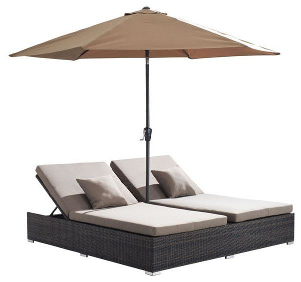 tropical outdoor double chaise lounge and there are umbrellas