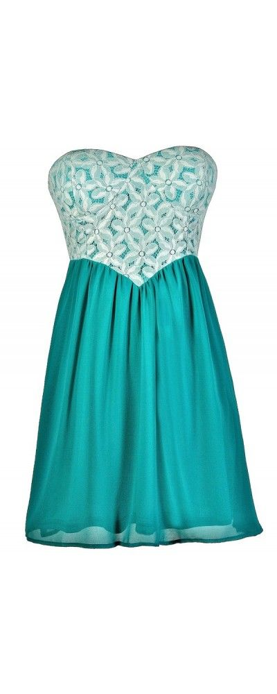 Flowering Fantasy Lace Dress in Turquoise  www.lilyboutique.com