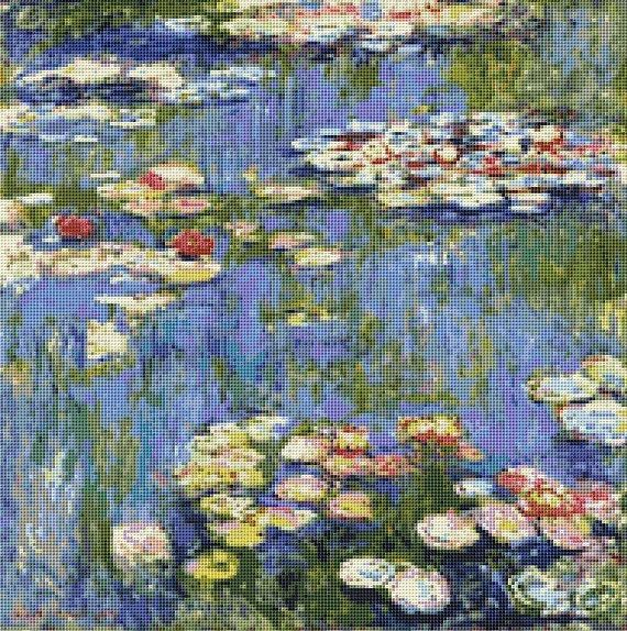 Claude Monet's Waterlilies Counted Cross Stitch Pattern / Chart, Instant Digital Download  (ABA003)