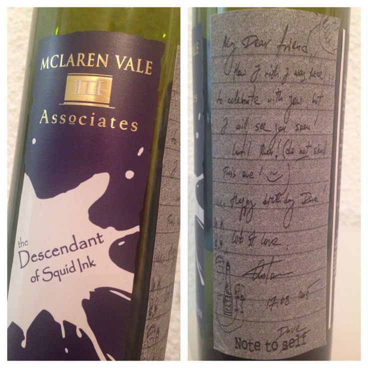 A thoughtful gift from my mate Anton. Thanks buddy! Was a very nice drop too, MCLAREN VALE never lets you down! The Descendant of Squid Ink - Shiraz 2013
