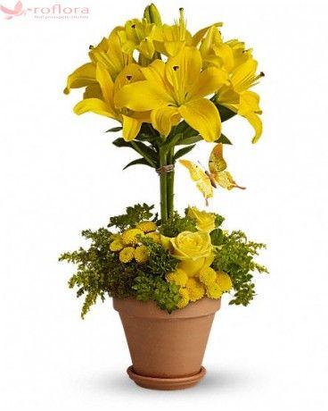 Yellow - Aranjament din crini, trandafiri si crizanteme