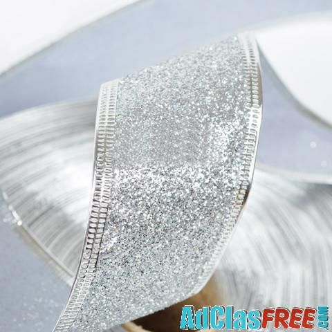 Silver Ribbon Christmas Trees Decoration