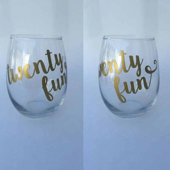 Custom personalized 21st birthday twenty fun wine glass.  This item can be made as either a stemmed or stemless wine glass.  This glass is